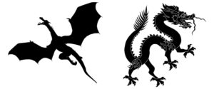 https://pixabay.com/en/animal-beast-creature-dragon-2029670/ (left) https://commons.wikimedia.org/wiki/File:Chinese_black_dragon.svg (right)