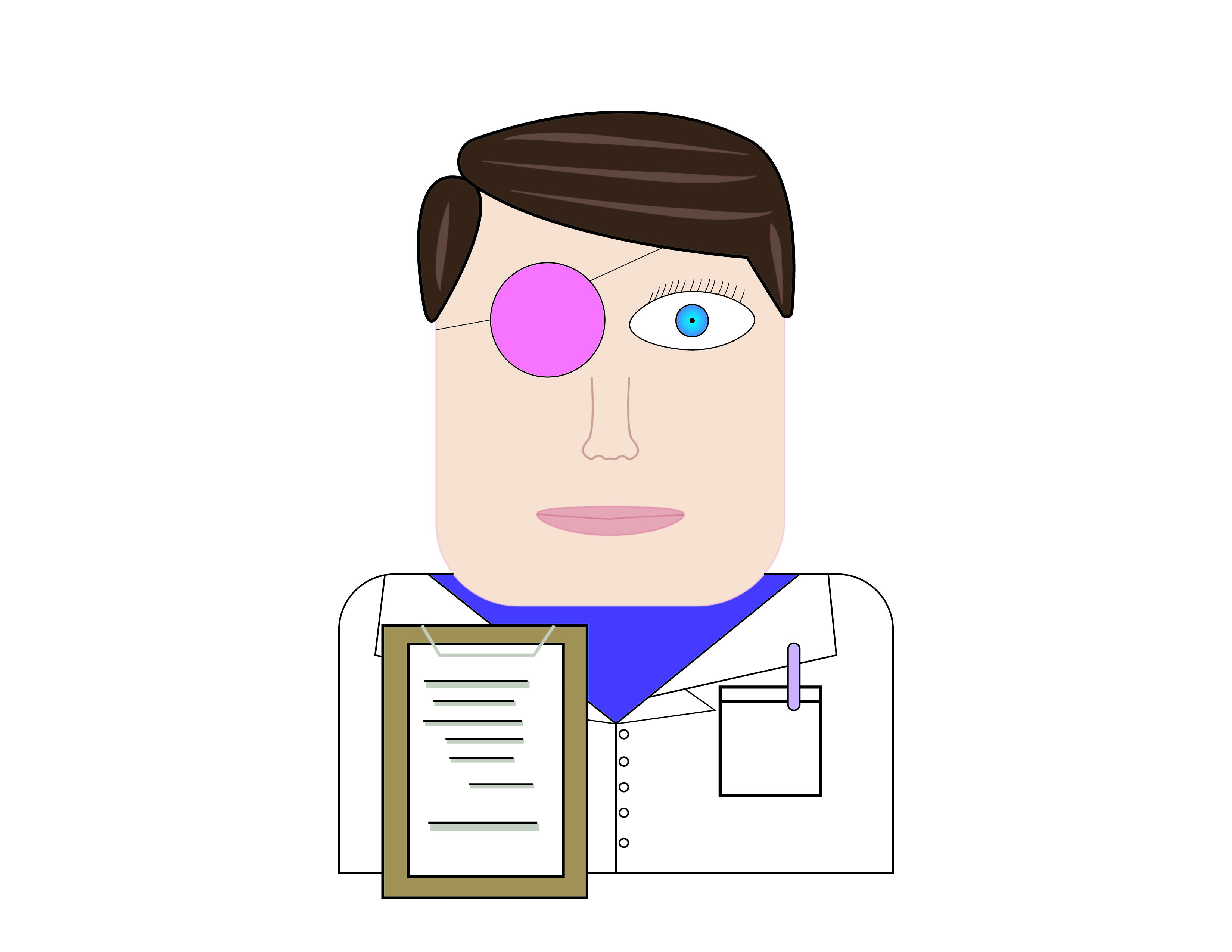 A male scientist holds a clipboard and wears a lab coat. One of his eyes is covered with a pink eyepatch.