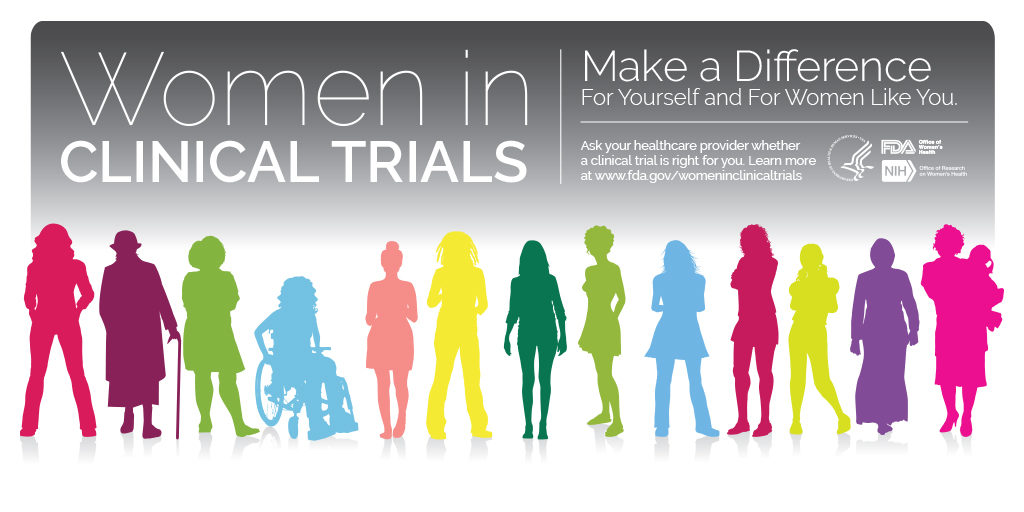"Colorful silhouettes of women of various backgrounds, ages, ability and occupation. Text reads ""Women in clinical trials. Make a difference for yourself and for women like you. Ask your healthcare provider whether a clinical trial is right for you."""