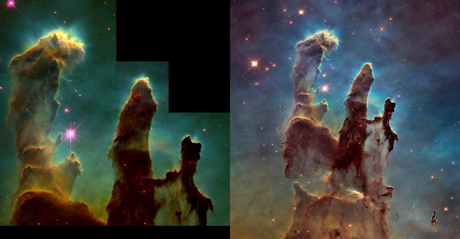 1995 and more recent Hubble images for comparison.