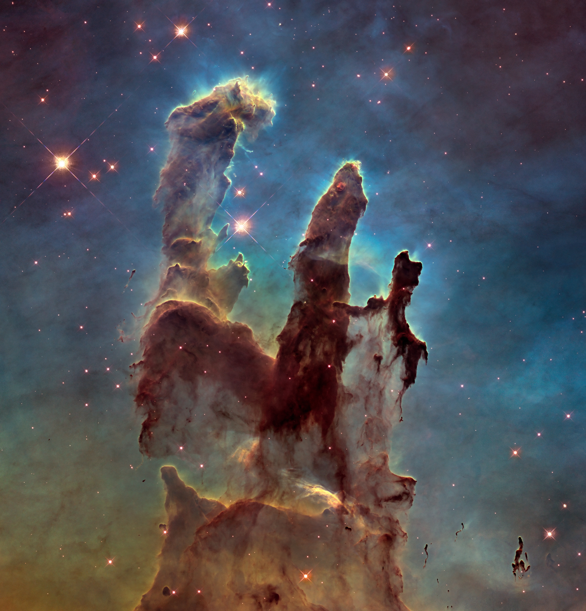 Hubble Space Telescope image of the Pillars of Creation taken in 2014.